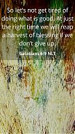 So let's not get tired of doing what is good. At just the right time we will reap a harvest of blessing if we don't give up. Galations 6 v9 NLT